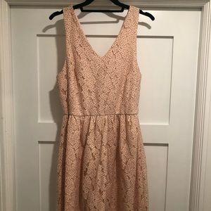Everly cream/light pink dress w/ black polka dots